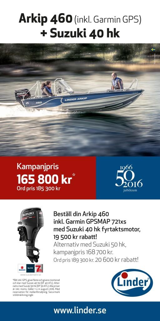 Sportsman 460 inkl. Garmin GPS + Suzuki 40 hk